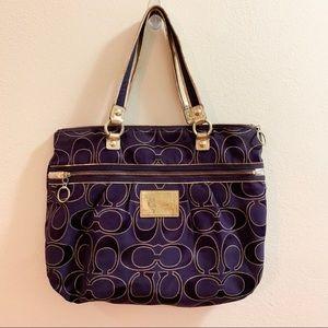 Purple and Gold Poppy Coach purse